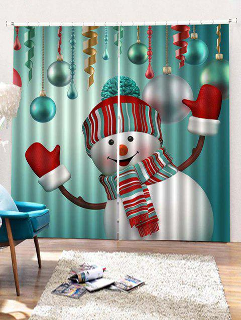 2pcs Christmas Snowman Pattern Window Curtains Greenish Blue W33 5 X L79 Inch