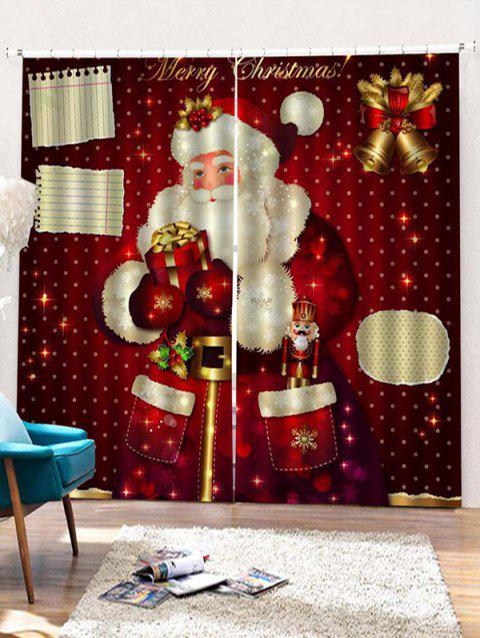 2PCS Gift Father Christmas Pattern Window Curtains - RED WINE W30 X L65 INCH X 2PCS