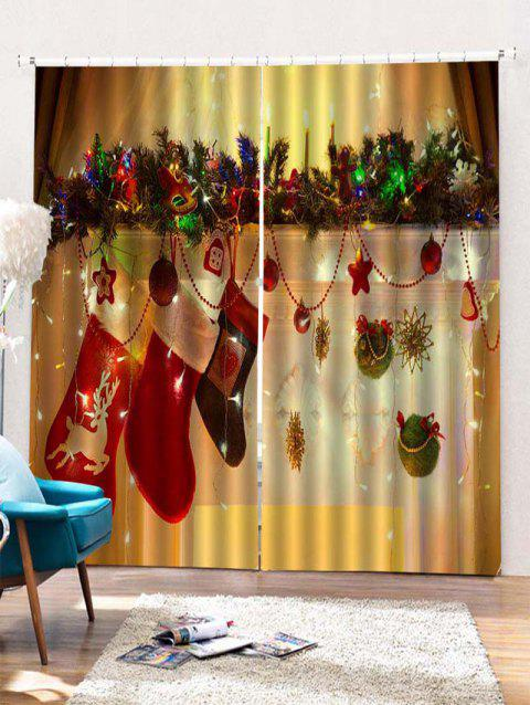 2PCS Christmas Gift Stockings Pattern Window Curtains - GOLDEN BROWN W30 X L65 INCH X 2PCS