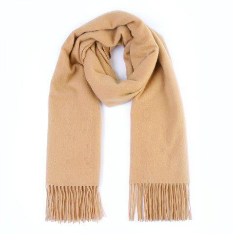Xiaomi Youpin Pure Cashmere Classic Solid Color Tassels Thickening Scarf Shawl - CAMEL BROWN
