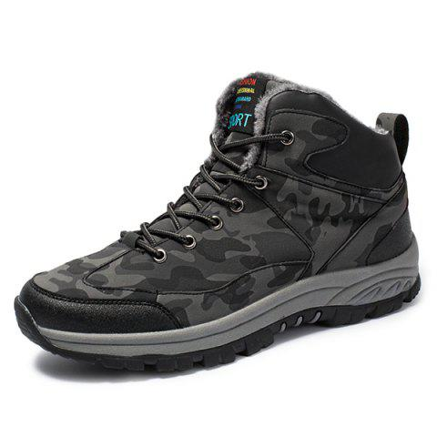Men Brushed Water-proof Outdoor High Shoes Snow Boot - GRAY EU 44