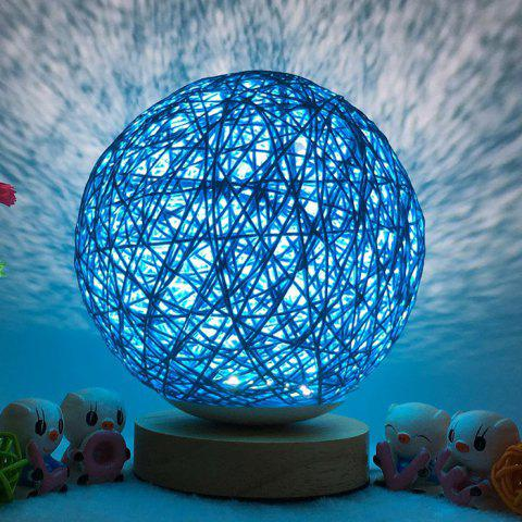 Bedside Romantic Star Projector Creative Night Light USB Dimming Twine Wood Rattan Table Lamp - Bleu 15CM