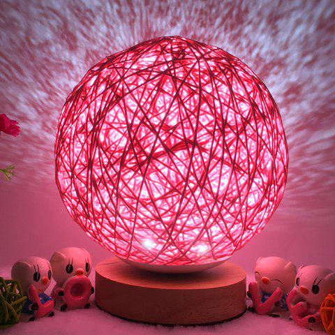 Bedside Romantic Star Projector Creative Night Light USB Dimming Twine Wood Rattan Table Lamp - PINK 15CM