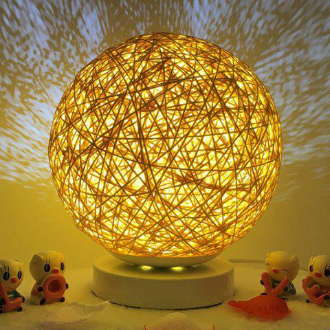 Bedside Romantic Star Projector Creative Night Light USB Dimming Twine Wood Rattan Table Lamp - Or 20CM