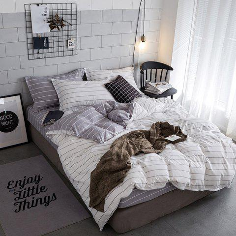 Simple Double-sided Striped Bed Set Of Three Or Four Sets - WHITE 200 X 230 4PCS