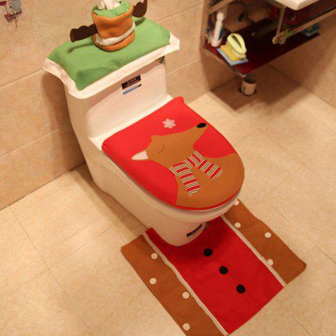 Bathroom Decoration Toilet Lid Embroidery Elk Scene Dress Up 3pcs - LAVA RED