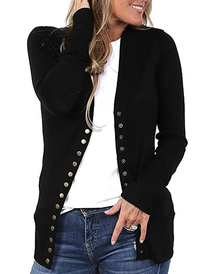 Fashion Casual Thick Knitted Sweater for Women - BLACK S