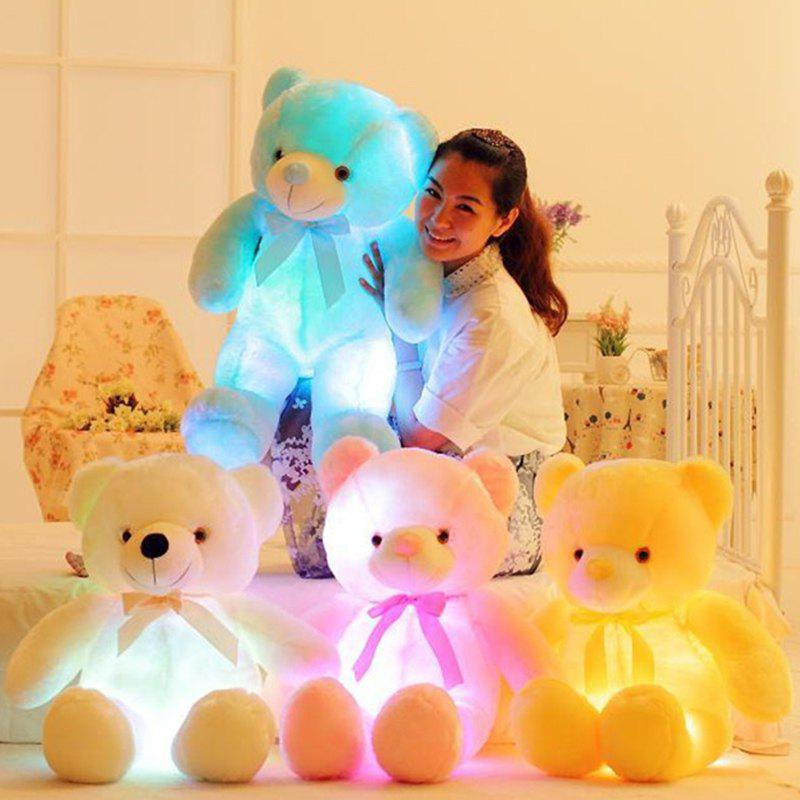 Creative Light LED Stuffed Animals Plush Toy Colorful Christmas Gift for Kids - WHITE