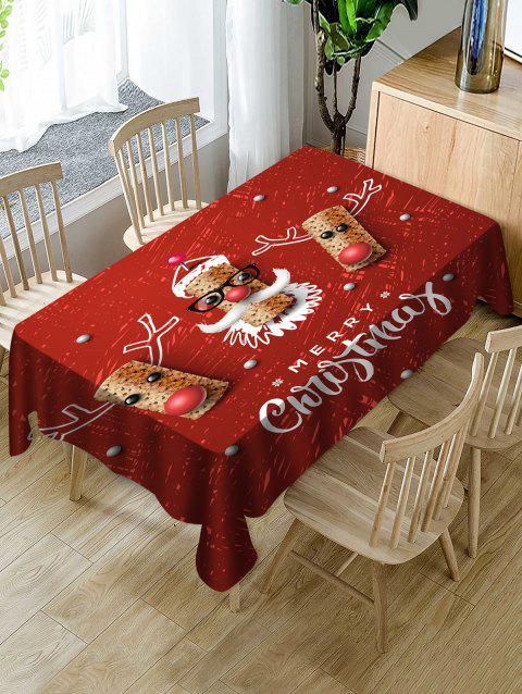 Christmas Elk Print Fabric Waterproof Tablecloth - RED W60 X L84 INCH