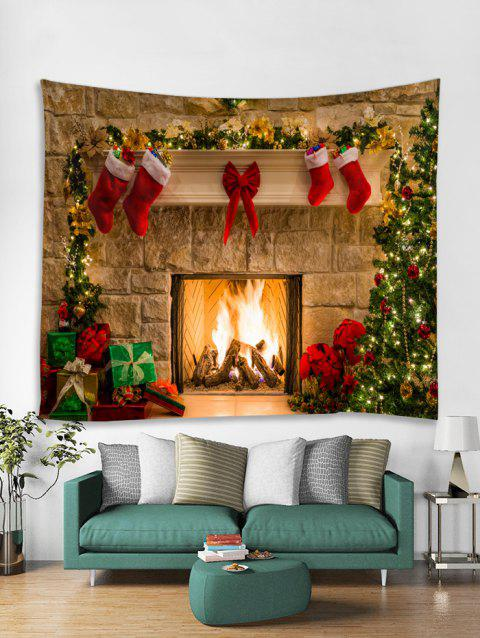 Christmas Fireplace Print Tapestry Wall Hanging Art Decoration - multicolor W91 X L71 INCH