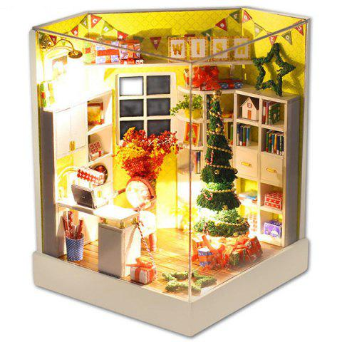 Merry Christmas Day DIY Dollhouse With Furniture Light Cover Gift Decor Collection - multicolor