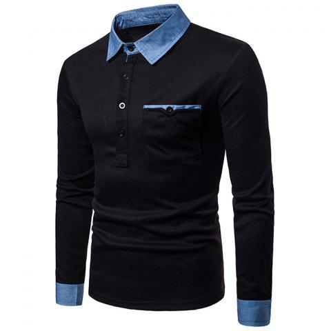 Men's Fashion Casual Large Size Denim Collar Design Long Sleeve - BLACK S