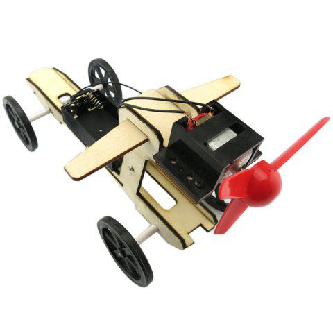 DIY Puzzle Assembling Small Wind Blade Wind Car Model Toy - multicolor A