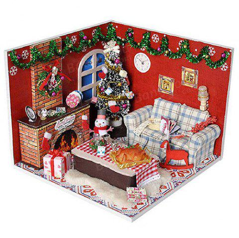 Wooden Furniture Kits LED Light Miniature Christmas Room DIY Dollhouse Puzzle Toy - multicolor