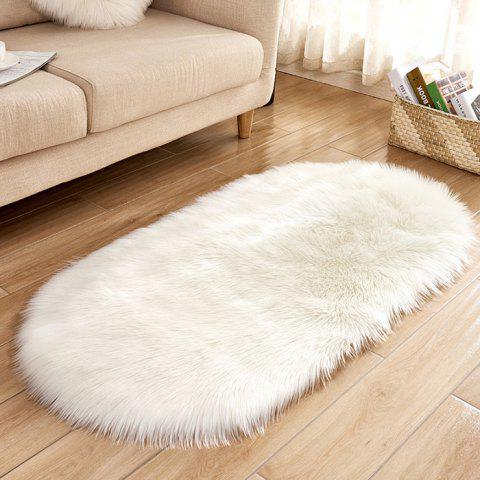 Wool Oval Living Room Carpet Floor Mat Bedside Mat Door Mat - WHITE
