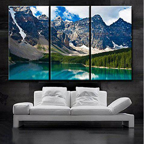 Triptych Core At The Foot Of The Beautiful Snowy Mountain Oil Painting 3pcs - multicolor 3PCS X 12 X 24 INCH( NO FRAME )