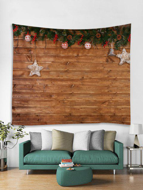 Christmas Wood Grain Print Tapestry Wall Hanging Decoration - multicolor W91 X L71 INCH