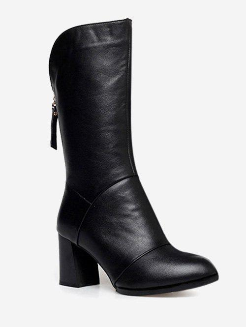 PU Leather Heeled Mid Calf Boots - BLACK EU 37