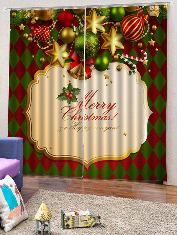 2 Panels Christmas Theme Print Window Curtains - multicolor W30 X L65 INCH X 2PCS