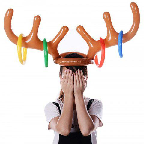 Christmas Inflatable Antler Hat Holiday Party Game Supplies Toys - CARAMEL