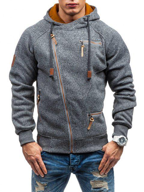 Men Hooded Sweater Personality Side Zipper - CARBON GRAY 3XL