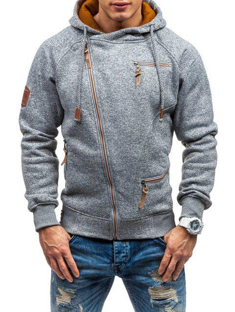 Men Hooded Sweater Personality Side Zipper - LIGHT GRAY XL
