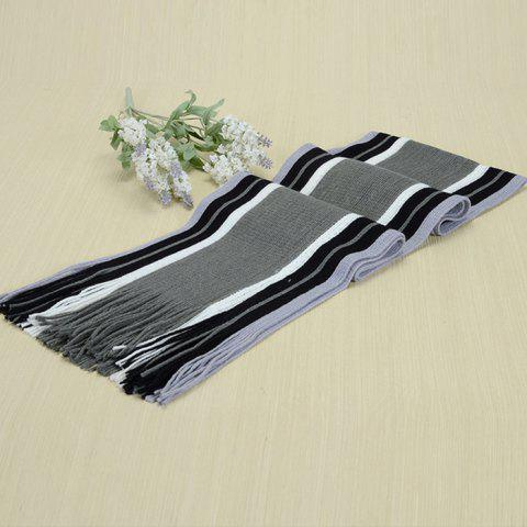 Trendy Knit Warm Tassel Men's Scarf for Winter - GRAY