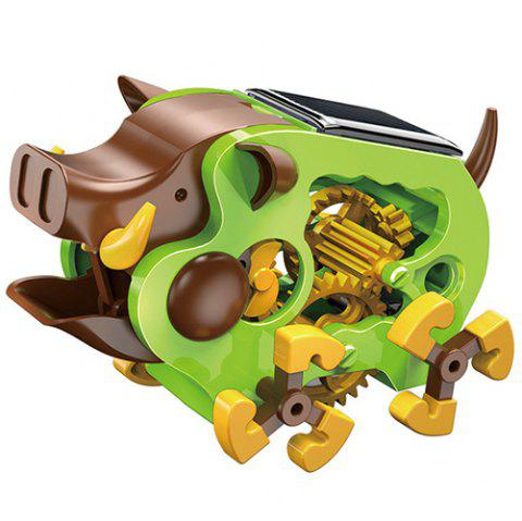 Puzzle Education DIY Set Solar Power Assembled Wild Boar Model Toy for Development Intelligence 47PCS - GREEN