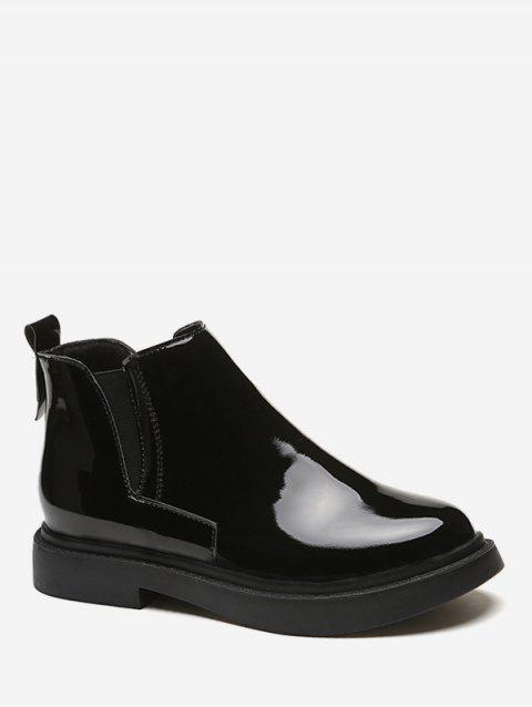 Patent Leather Chelsea Ankle Boots - BLACK EU 38
