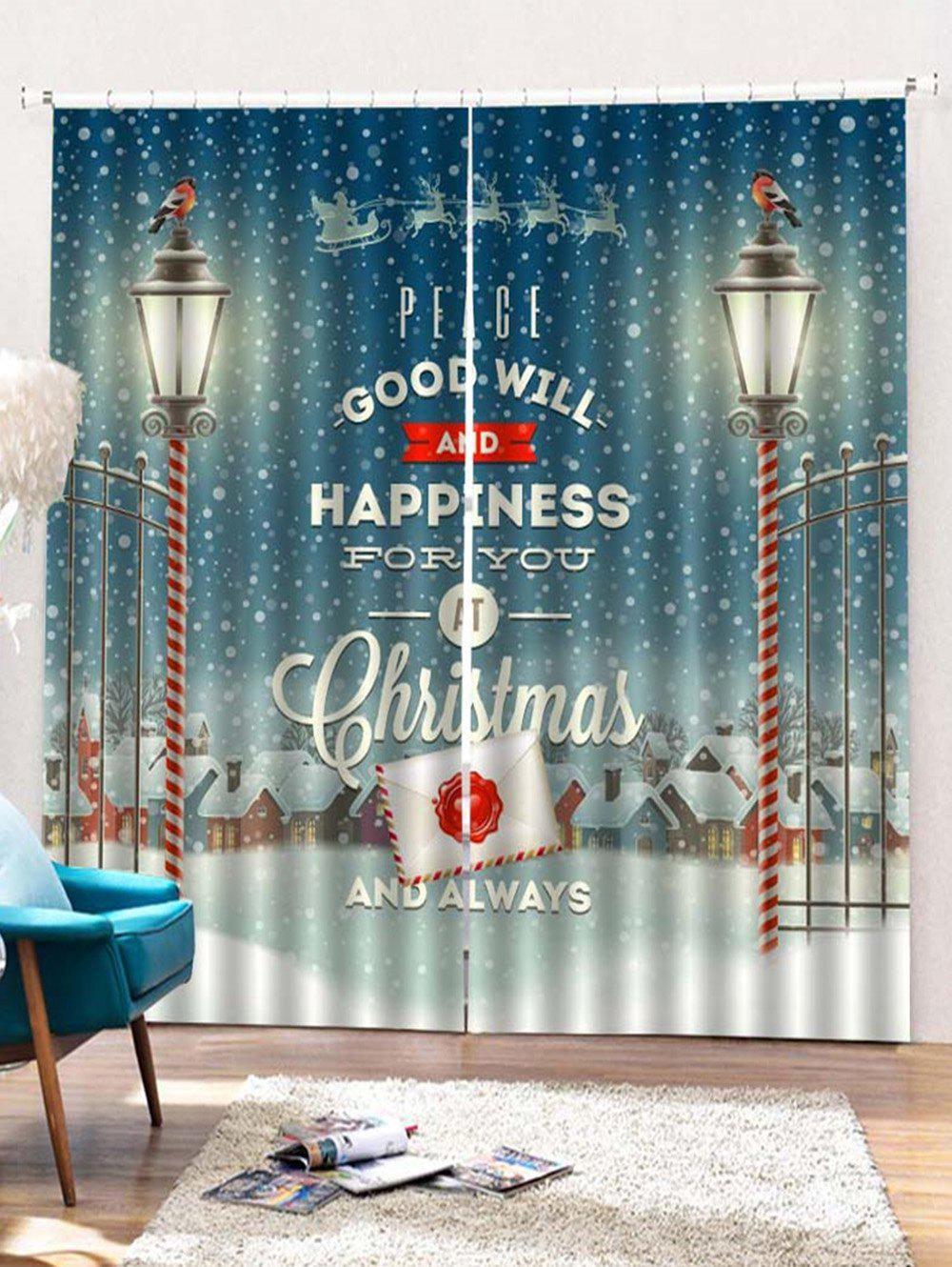 2 Panels Christmas Town Blessing Print Window Curtains - multicolor W33.5 X L79 INCH X 2PCS