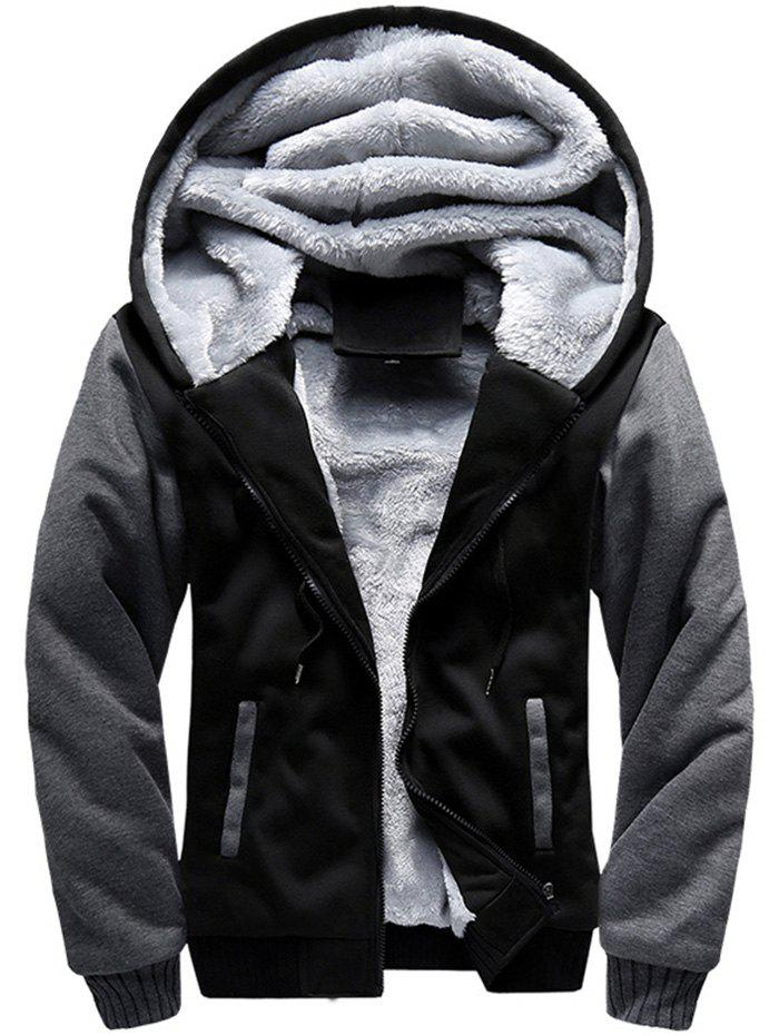 Men Hooded Autumn Winter Baseball Sports Plus Velvet Jacket