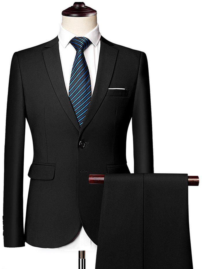 Men's Business Professional Suits Two-Piece Customized  Dresses Solid Color Two Buttons - BLACK M