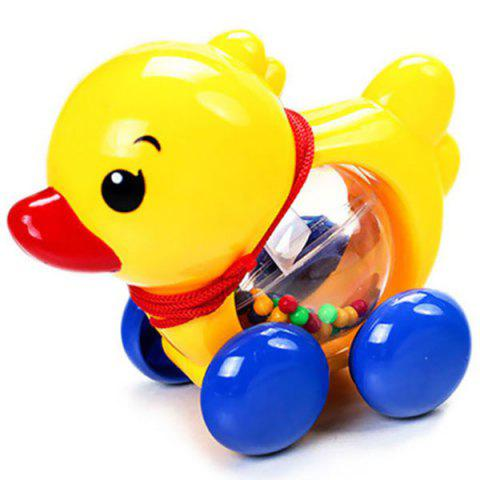 Baby Rattles Pull Rope Duck Animals Hand Jingle Shaking Bell Car Toys Music Handbell For Kids - YELLOW