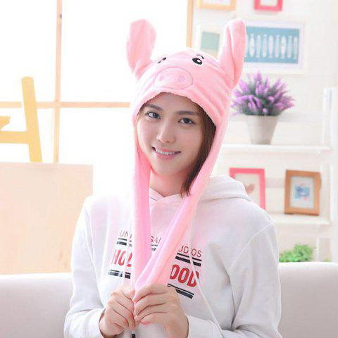 Year Gift Spring Festival Gift Pig Year Mascot Ear Moving Pig Hat - multicolor A