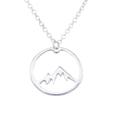 Creative Fashion Round Hollow Snow Mountain Necklace - SILVER