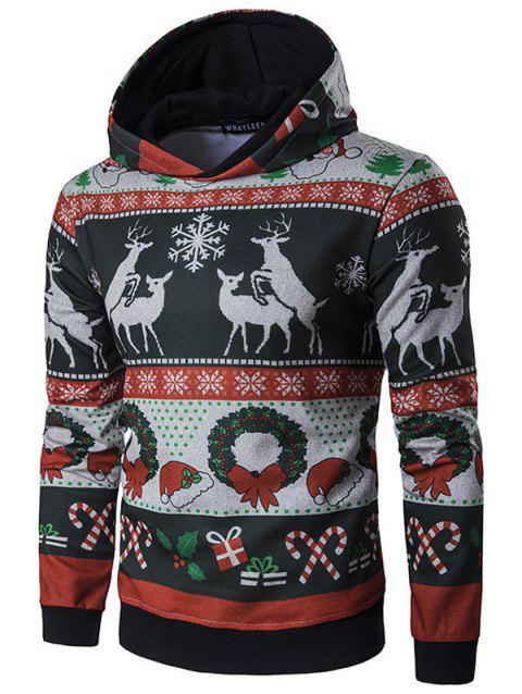 Men's Personality Hooded Striped Christmas Elk Print Pullover Hoodie - multicolor A XL