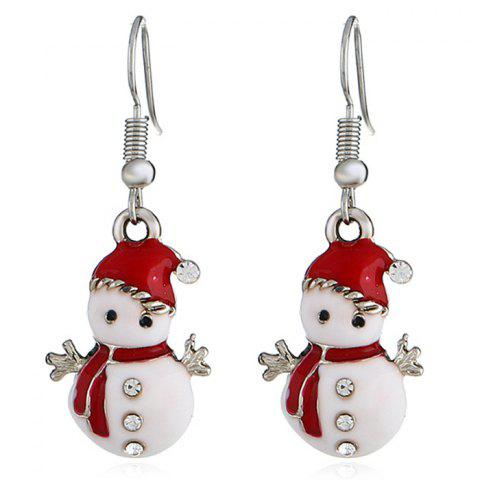 Christmas Snowman Earrings Personalized Fashion Cute Doll Gift - WHITE