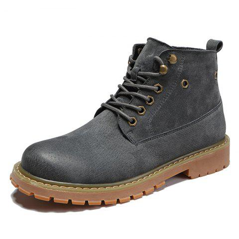 Men Lace-up Boots Leisure Comfortable Wearable Classic - GRAY EU 39