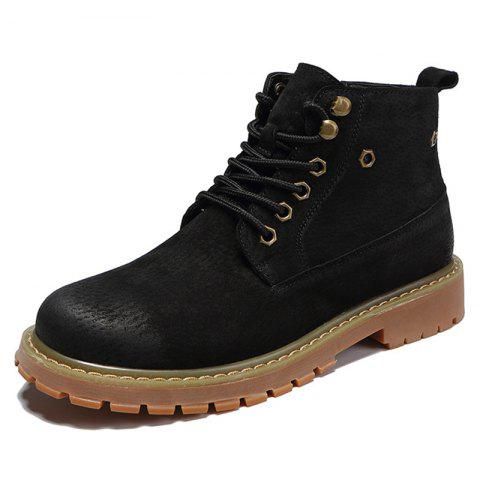 Men Lace-up Boots Leisure Comfortable Wearable Classic - BLACK EU 43