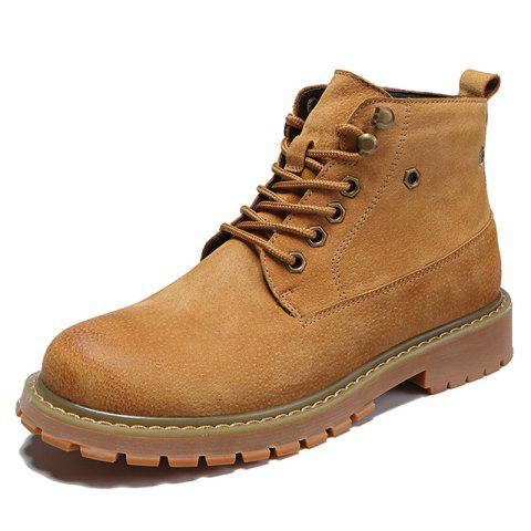 Men Lace-up Boots Leisure Comfortable Wearable Classic - LIGHT BROWN EU 44