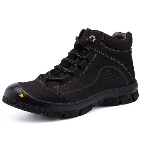 Men Lace-up Hiking Boots Leisure Comfortable Wearable - BLACK EU 42