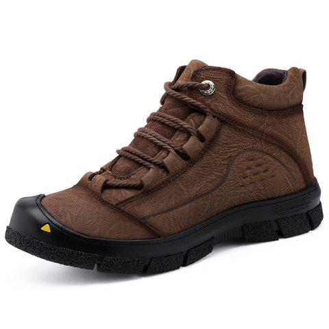Men Lace-up Hiking Boots Leisure Comfortable Wearable - BROWN EU 42