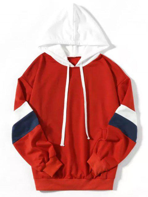 Fashion Casual Color Contrast Hoodie - RED S