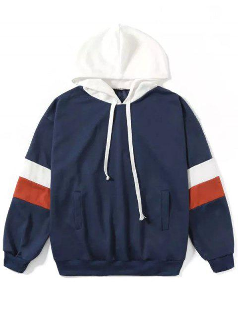 Fashion Casual Color Contrast Hoodie - CADETBLUE M