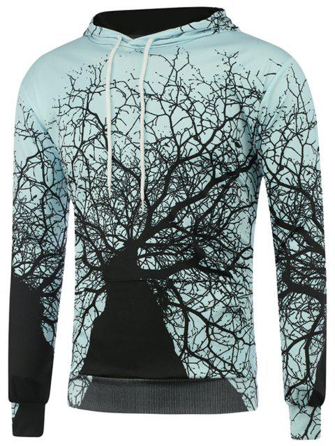 Men's Hoodie Autumn Winter Gray Trees Hooded - BABY BLUE 2XL