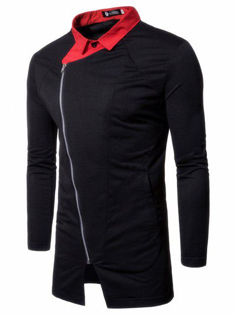 Men's Hoodie Fashion Solid Color Hooded Pullover Zipper Collar - BLACK M