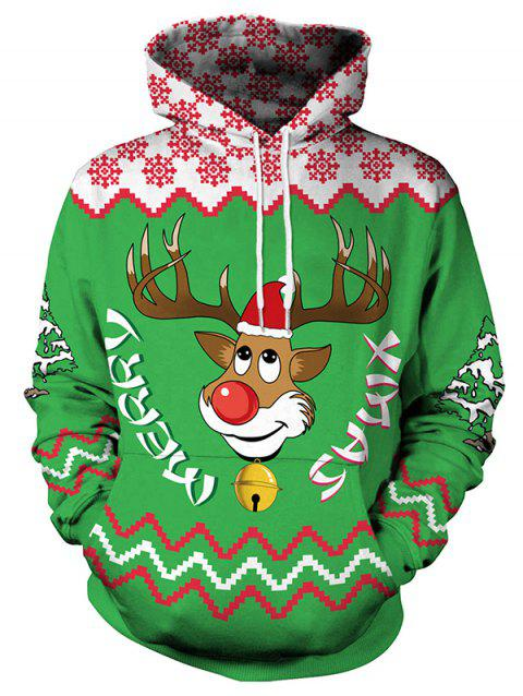 3D Reindeer Digital Print Hoodie - MEDIUM SEA GREEN M