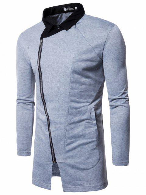 Men's Hoodie Fashion Solid Color Hooded Pullover Zipper Collar - LIGHT GRAY 2XL
