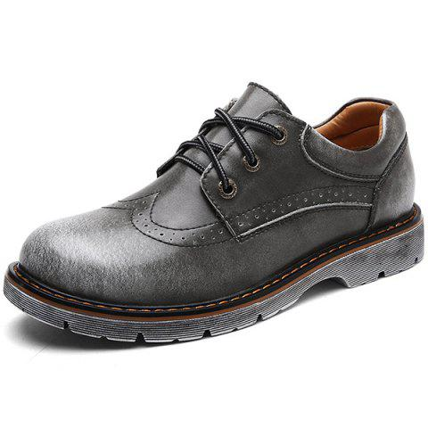 Casual Leather Men Shoes - GRAY EU 43