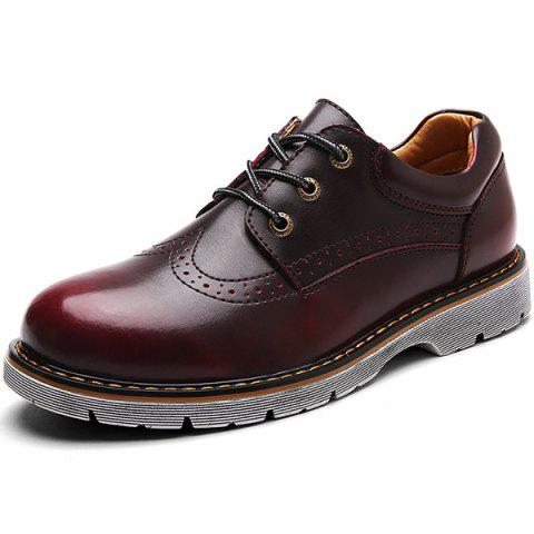 Casual Leather Men Shoes - RED WINE EU 41
